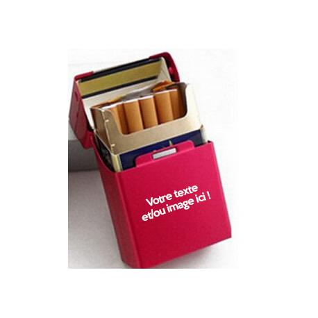 Etui à cigarettes personnalisable rouge - Cache paquet en aluminium à personnaliser