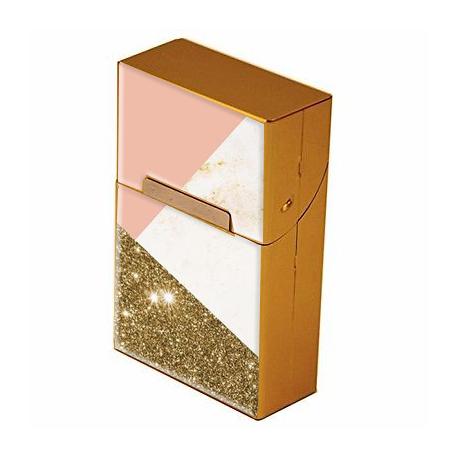 Etui à cigarettes personnalisable or - Cache paquet en métal doré