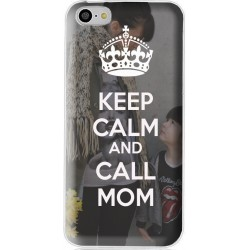 Coque avec photo Keep Calm and Call Mom personnalisable pour iPhone 5C